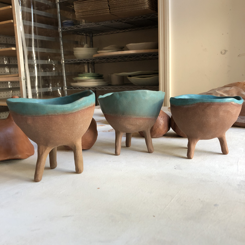 Ceramics Workshops in Nashville: Red Clay Footed Pots